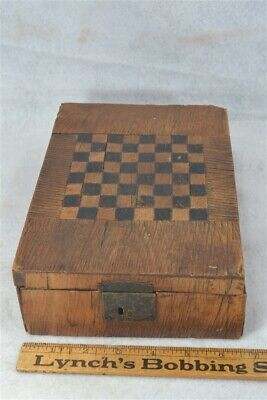 game board box hand carved w/drawer wall paper early 19th c antique