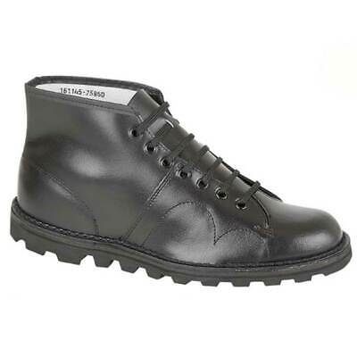 Grafters B430A Unisex Black Leather Original Monkey Boots