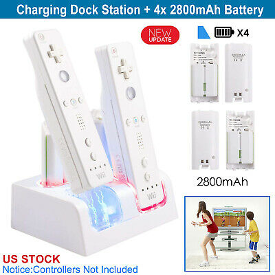 4-pack Rechargeable Batteries + Charging Dock for Nintendo Wii Remote Controller