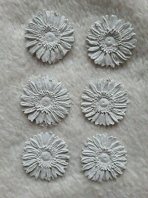6 Rustic DAISIES Handmade Ready2Paint AIR DRY CLAY (NOT SUPER LIGHTWEIGHT CLAY