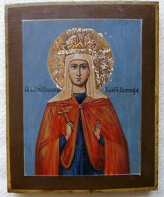 Antique Russian icon of St. Paraskeva Friday. 19 century. Cypress.