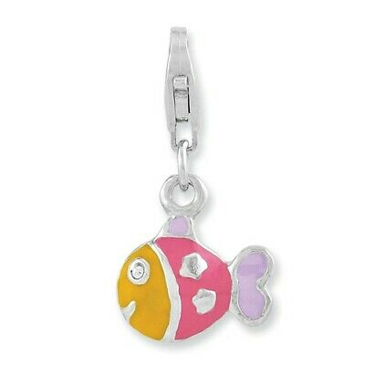 925 Sterling Silver Rhodium-plated 3-D Enameled Fish with Lobster Clasp Charm