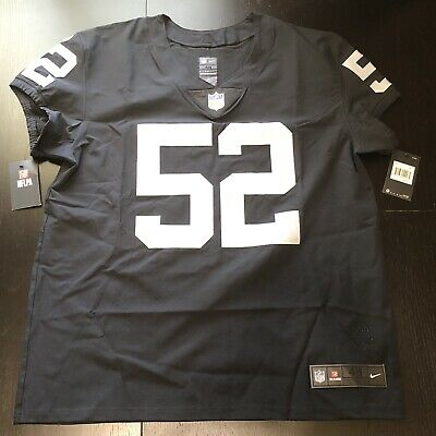 buy popular 3ce00 dd2f7 NIKE OAKLAND RAIDERS Khalil Mack Black Elite Authentic Mens Jersey Size 48  XL