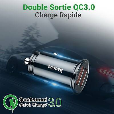 Double Chargeur rapide USB Allume cigare QualComm QuickCharge 4.5A 22.5W Smartph