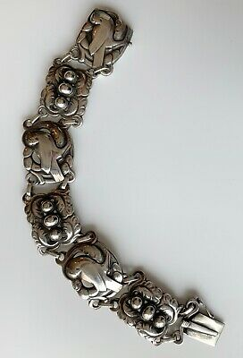 Georg Jensen Sterling Silver Classic Dove Art Nouveau Bracelet #14, Early 1900s