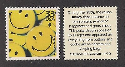 1970's SMILEY FACE BUTTONS - U.S. POSTAGE STAMP - MINT CONDITION