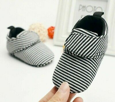 Newborn Baby Classic Soft Walking Shoes Striped Pattern Cotton Shallows Footwear