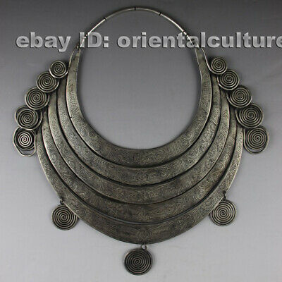 Vintage tribal exotic chinese hand-carved miao silver 5rings necklace