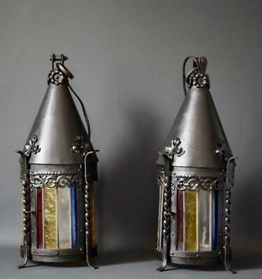 Rare Pair of Wrought Iron and Stained Glass Lantern Porch Chandelier Lighting