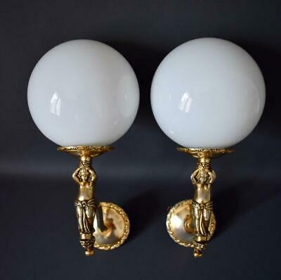 Vintage French Pair of Angel Cherub Wall Sconces with Opaline Glass Lamp Shade