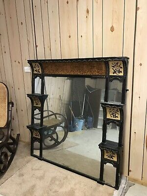 Antique Overmantle Mirror Painted French Beautiful Rare