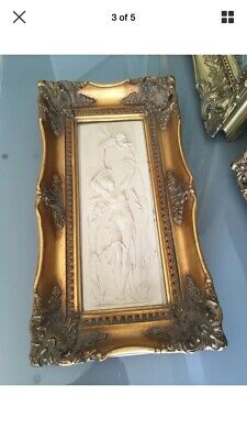 French Antique Angelic Marble Style Relief Plaque in Ornate Gilt Frame