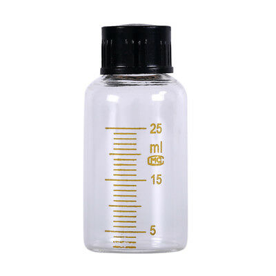 1pcs 25ml Scale lab glass vials bottles clear containers with black screw cap IJ