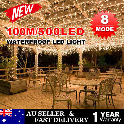 500LED 100M Fairy Lights Christmas Light String Garden Warm White Waterproof