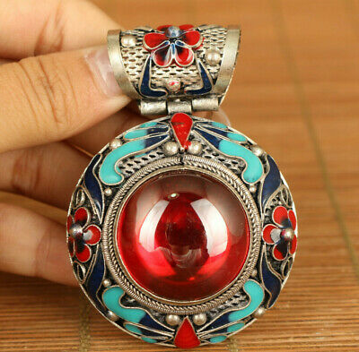 Big miao silver inlay red zircon flower statue netsuke pendant netsuke decorate