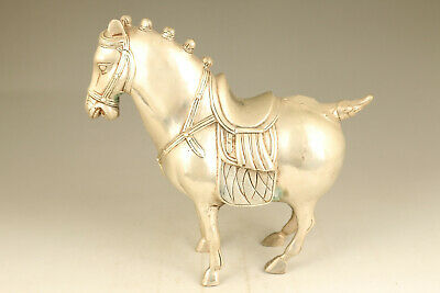 Chinese big copper plating silver horse statue figure collectable