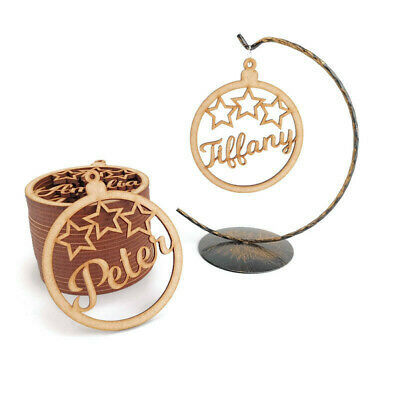 1x Personalised Christmas Tree Decoration Baubles Wood Shape name gift tags star