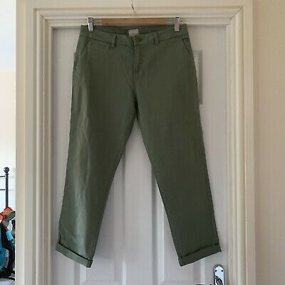 BNWT Ladies JOULES Hesford Soft Khaki Cotton Stretch Chinos Trousers - Size 12