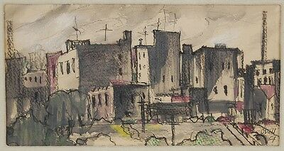 Mid-Century Modern Eerie Abstracted City Scape Painting sgnd O'Dell 1954