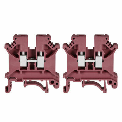 DIN Rail Terminal Block UK5N 800V 41A Screw Type Connector 0.2-4mm2 Red 2 Pcs