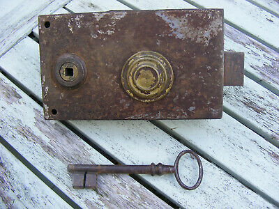 Antique French Door Rim Lock & Key ~ Working Brass Plate G.f.r