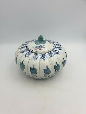Chinese Ceramic Large Pumpkin Shaped Lidded Pot Hand Painted Green Blue Grapes