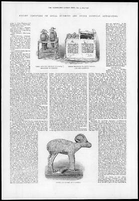 1882 Antique Print - EGYPT Royal Antiquities Makra Gazelle (293)