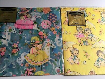 Vintage Pleasant Thoughts Gift Wrap Juvenile Boy & Girl Lot of 2