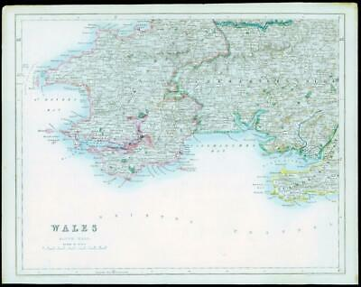 1842 - Original Antique Map of WALES SOUTH WEST by Fisher (41)