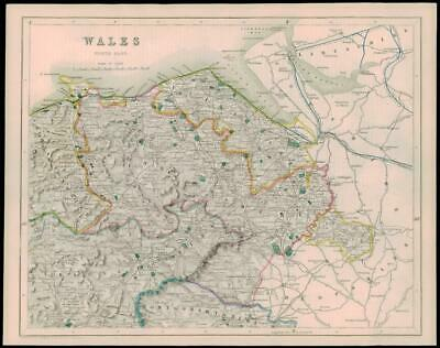 1842 - Original Antique Map of WALES NORTH EAST by Fisher (37)