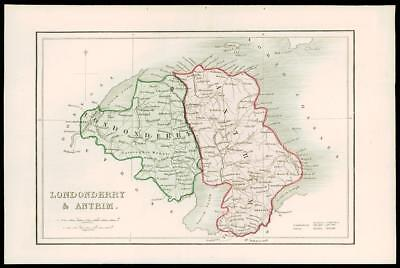 1840 IRELAND - Original Antique Map of LONDONDERRY & ANTRIM (007)