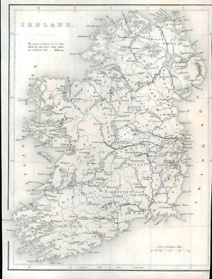1840 IRELAND - Original Antique Map of IRELAND published by Virtue (291)