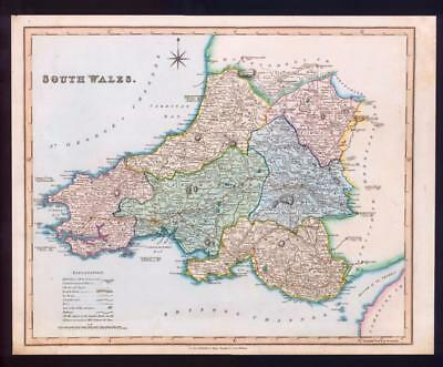 1831 - Original Antique Large Map of SOUTH WALES by HENRY TEESDALE