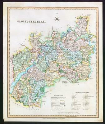 1831 - GLOUCESTERSHIRE Original Antique LARGE COLOURED Map by HENRY TEESDALE