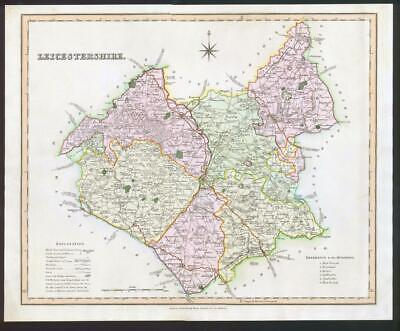 1831 - LEICESTERSHIRE Original Antique LARGE COLOURED Map by HENRY TEESDALE