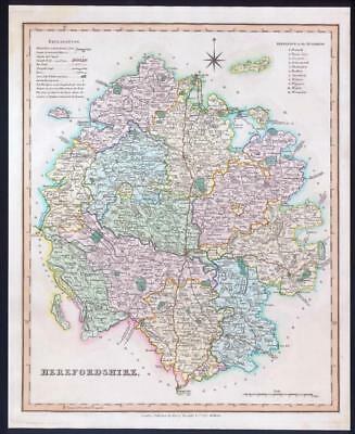 1831 - HEREFORDSHIRE Original Antique LARGE COLOURED Map by HENRY TEESDALE