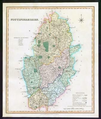 1831 - NOTTINGHAMSHIRE Original Antique LARGE COLOURED Map by HENRY TEESDALE