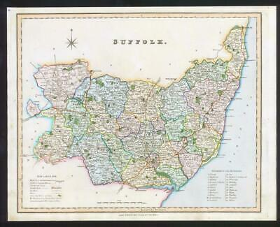 1831 - SUFFOLK Original Antique LARGE COLOURED Map by HENRY TEESDALE