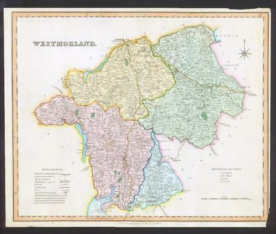 1831 - WESTMORLAND Original Antique LARGE COLOURED Map by HENRY TEESDALE