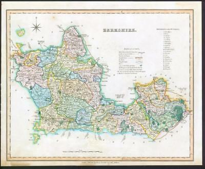 1831 BERKSHIRE - Original Antique LARGE COLOURED Map by TEESDALE