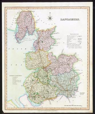 1831 - LANCASHIRE Original Antique LARGE COLOURED Map by HENRY TEESDALE