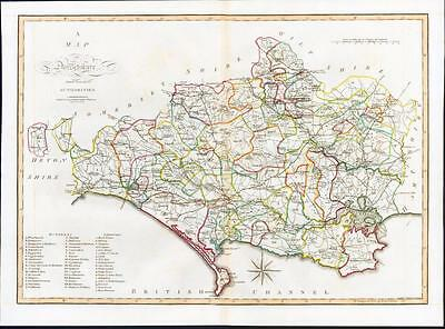 1805 Original Antique LARGE MAP 'DORSETSHIRE' Dorset by John Cary Outline Colour