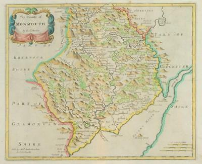 1722 - Rare Original Large Antique Map of MONMOUTH Monmouthshire by MORDEN (2)