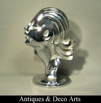 Female Art Deco Bust in Chrome-plated Cast Iron or Steel