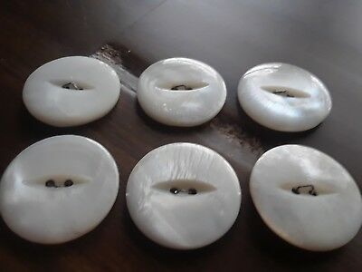 Lot of 6 Beautiful Matched CAT EYE Large Real Mother of Pearl Buttons