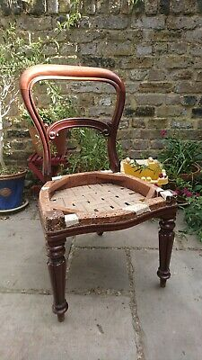Victorian Sprung Dining Chair Traditional Wood Balloon Back Antique restoration