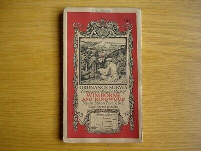 Early Ordnance Survey Map. 1 inch to 1 mile Wimborne & Ringwood. cloth. 1930