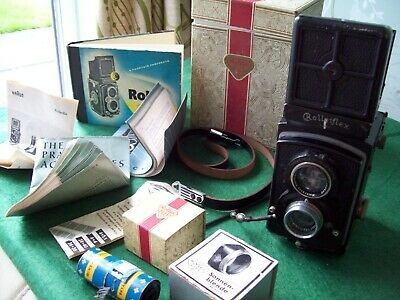 Vintage Rolleiflex TLR camera + Rolleicord box/booklets and other bits
