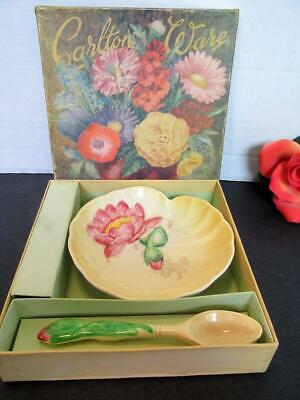 Boxed Carlton Ware Australian Design  Yellow Dish & Spoon England Kt5788
