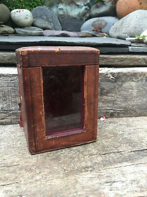 ANTIQUE 1800's LEATHER CARRIAGE CLOCK CASE TRAVEL CASE -GLASS- RED VELVET LINING